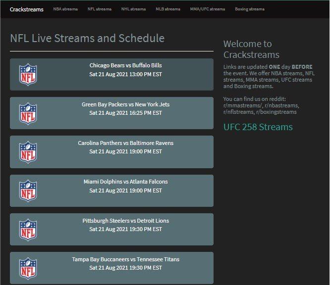 NFL Live Streams and Schedule – CrackStreams
