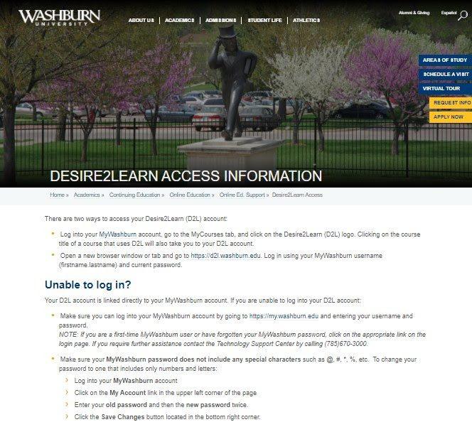 Desire2Learn Access Information – Washburn University